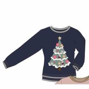 Foute blauwe dames kersttrui met kerstboom