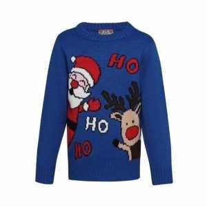 Foute blauwe kerst trui ho ho ho voor kinderen