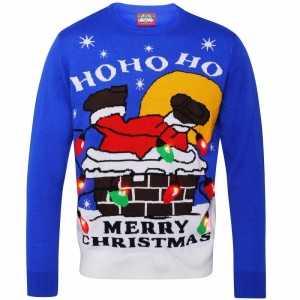 Foute blauwe kersttrui ho ho ho voor volwassenen