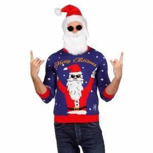 Foute blauwe kersttrui met rocker kerstman