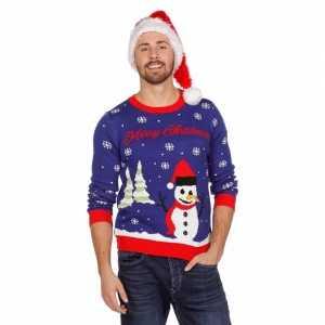Foute blauwe kersttrui met sneeuwpop voor volwassenen