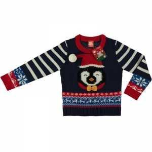 Foute blauwe kersttrui pinguin voor kinderen