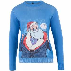 Foute blauwe kersttrui super santa