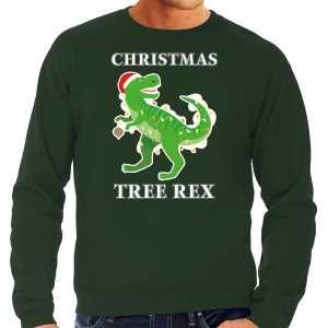 Foute christmas tree rex kersttrui / outfit groen voor heren