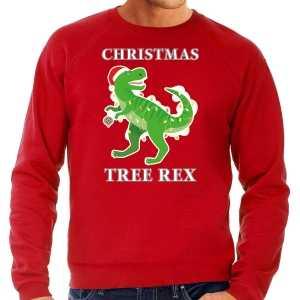 Foute christmas tree rex kersttrui / outfit rood voor heren