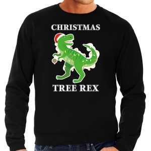 Foute christmas tree rex kersttrui / outfit zwart voor heren