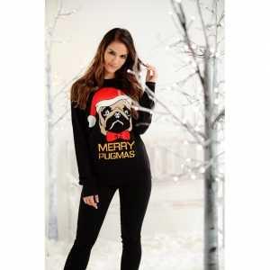 Foute dames kersttrui zwart met mopshond
