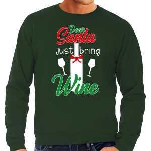 Foute dear santa just bring wine drank kersttrui / outfit groen voor heren