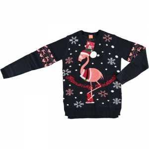 Foute donkerblauwe dames kersttrui met flamingo