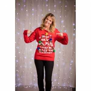 Foute grappige rode dames kersttrui met verlichting