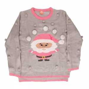 Foute grijs met roze dames kersttrui met kerstman