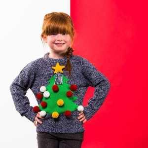 Foute grijze kerst trui 3d kerstboom voor kinderen
