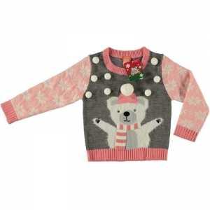 Foute grijze kersttrui ijsbeer voor meisjes maat 128/134