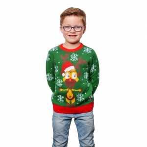 Foute groene kersttrui met rendier voor kinderen