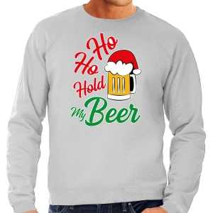 Foute grote maten ho ho hold my beer fout kersttrui / outfit grijs voor heren