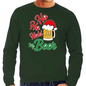 Foute grote maten ho ho hold my beer fout kersttrui / outfit groen voor heren