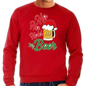 Foute grote maten ho ho hold my beer fout kersttrui / outfit rood voor heren