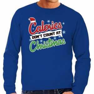 Foute grote maten kersttrui calories dont count christmas blauw heren