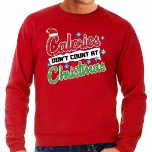 Foute grote maten kersttrui calories dont count christmas rood heren