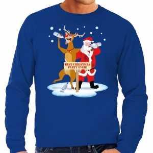 Foute grote maten kersttrui dronken kerstman en rendier blauw heren
