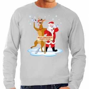 Foute grote maten kersttrui dronken kerstman en rendier grijs heren