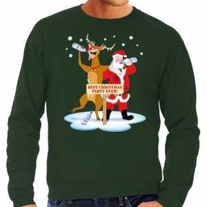 Foute grote maten kersttrui dronken kerstman en rendier groen heren