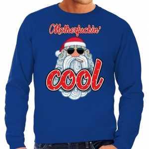 Foute grote maten kersttrui kerstman motherfucking cool blauw heren