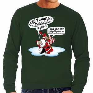 Foute grote maten kersttrui zingende kerstman met gitaar groen heren
