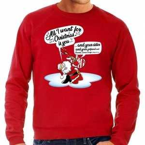 Foute grote maten kersttrui zingende kerstman met gitaar rood heren