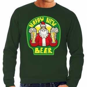 Foute grote maten nieuwjaar / kersttrui happy new beer groen heren