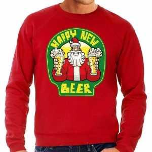 Foute grote maten nieuwjaar / kersttrui happy new beer rood heren