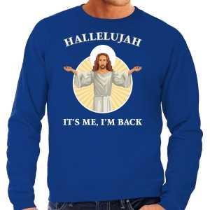 Foute hallelujah its me im back kersttrui / outfit blauw voor heren