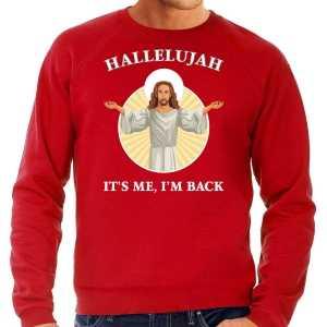Foute hallelujah its me im back kersttrui / outfit rood voor heren
