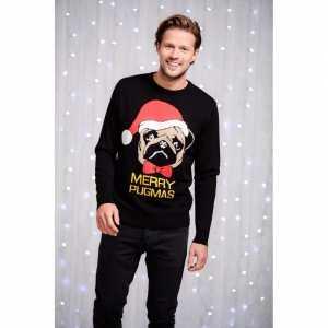 Foute heren kersttrui zwart met mopshond