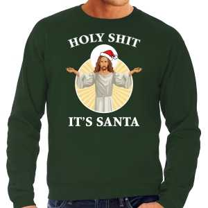 Foute holy shit its santa fout kersttrui / outfit groen voor heren