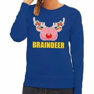 Foute kersttrui braindeer blauw voor dames