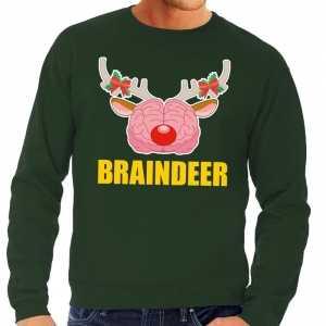 Foute kersttrui braindeer groen voor heren