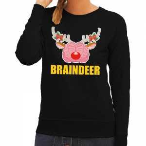 Foute kersttrui braindeer zwart voor dames