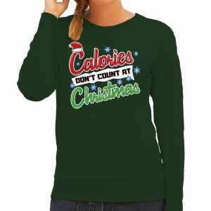 Foute kersttrui calories dont count christmas groen voor dames