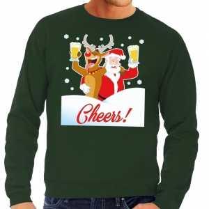 Foute kersttrui cheers met dronken kerstman groen heren