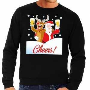 Foute kersttrui cheers met dronken kerstman zwart heren