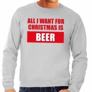 Foute kersttrui christmas beer grijs voor heren