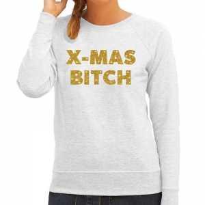 Foute kersttrui christmas bitch gouden glitter letters grijs dames