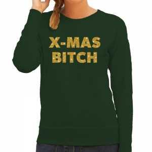 Foute kersttrui christmas bitch gouden glitter letters groen dames