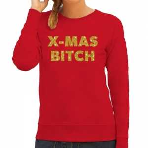 Foute kersttrui christmas bitch gouden glitter letters rood dames