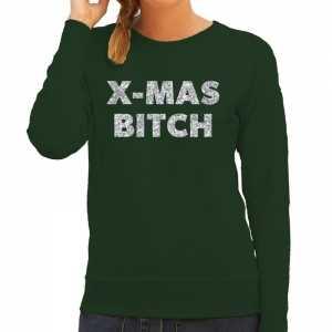 Foute kersttrui christmas bitch zilveren glitter letters groen dames
