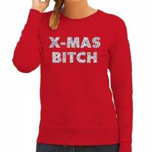 Foute kersttrui christmas bitch zilveren glitter letters rood dames