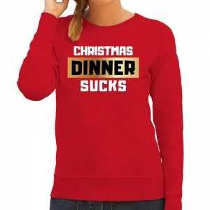Foute kersttrui christmas dinner sucks rood voor dames
