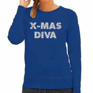 Foute kersttrui christmas diva zilveren glitter letters blauw dames