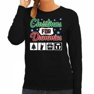 Foute kersttrui christmas for dummies zwart voor dames
